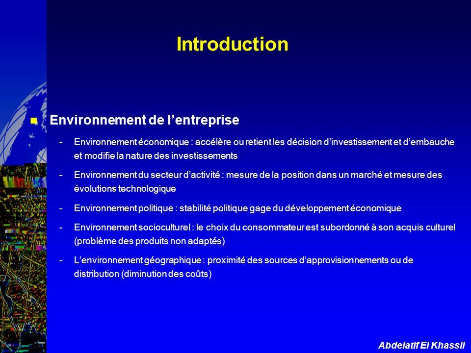 Introduction Environnement de l'entreprise