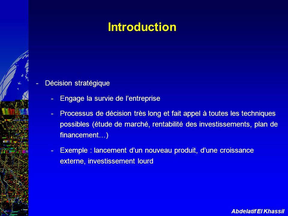 Introduction Décision stratégique Engage la survie de l'entreprise