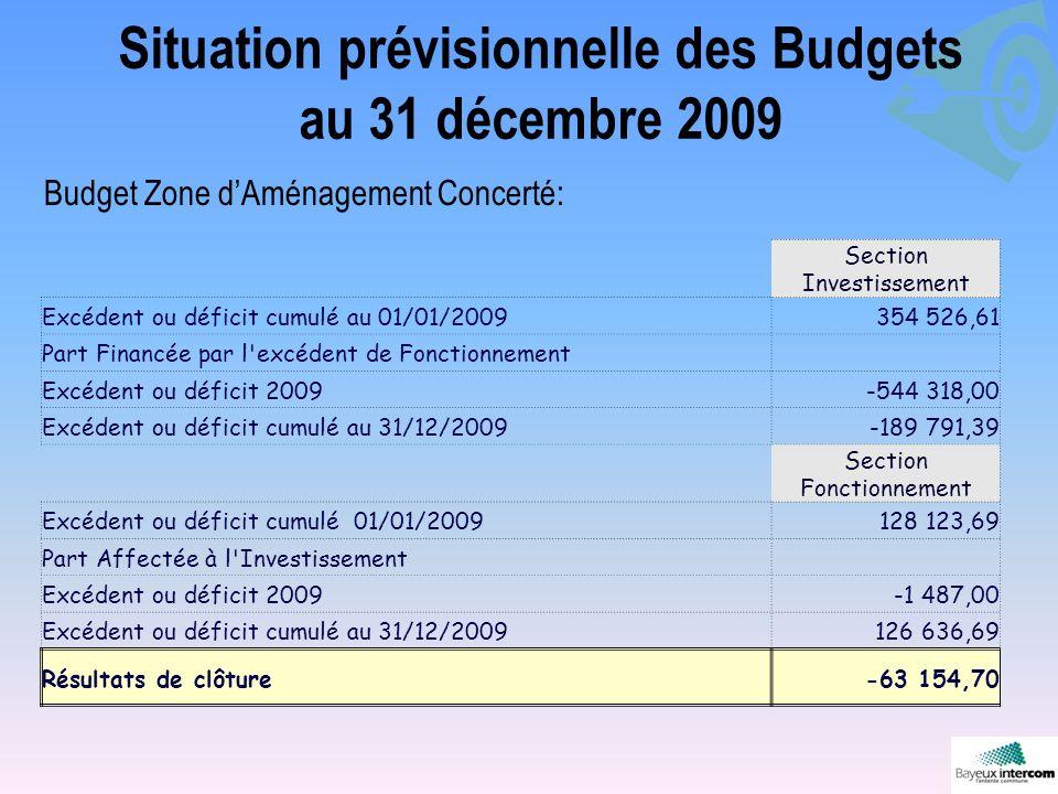 Situation prévisionnelle des Budgets au 31 décembre 2009