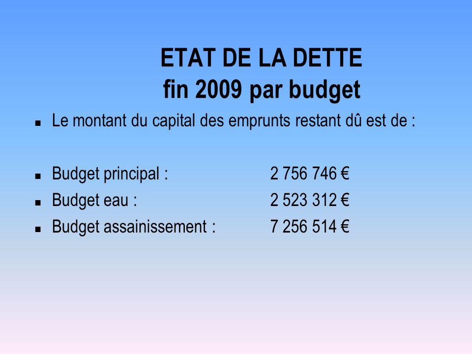ETAT DE LA DETTE fin 2009 par budget