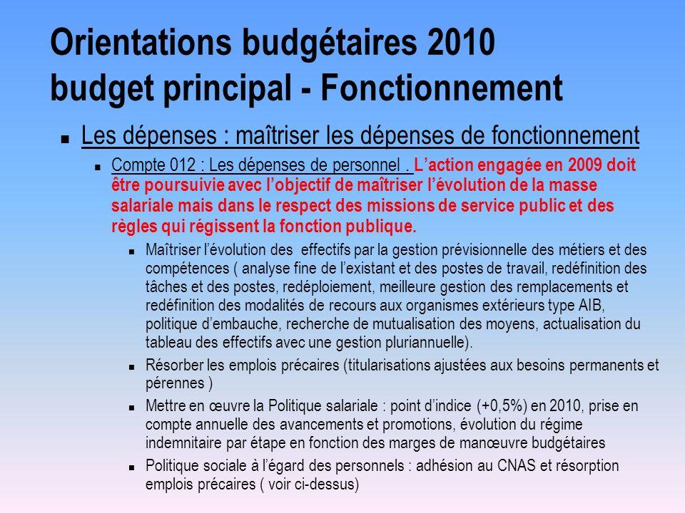 Orientations budgétaires 2010 budget principal - Fonctionnement