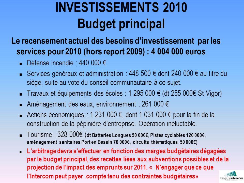 INVESTISSEMENTS 2010 Budget principal