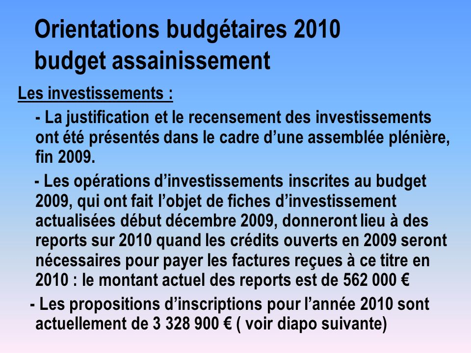 Orientations budgétaires 2010 budget assainissement