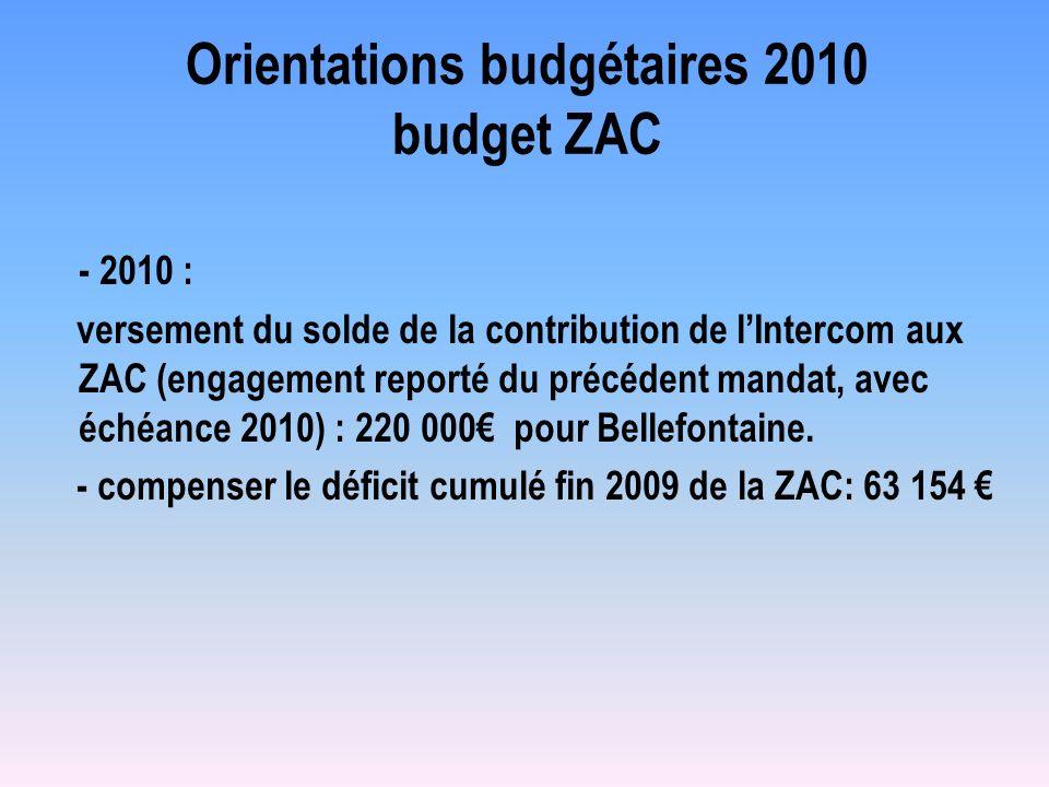 Orientations budgétaires 2010 budget ZAC