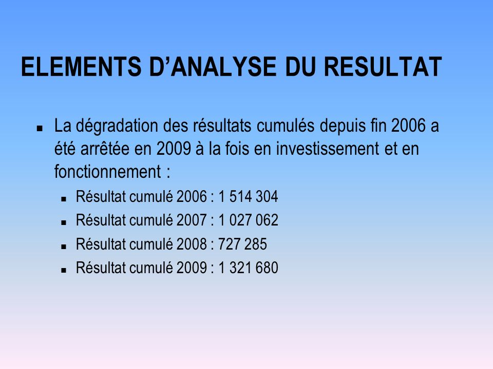 ELEMENTS D'ANALYSE DU RESULTAT