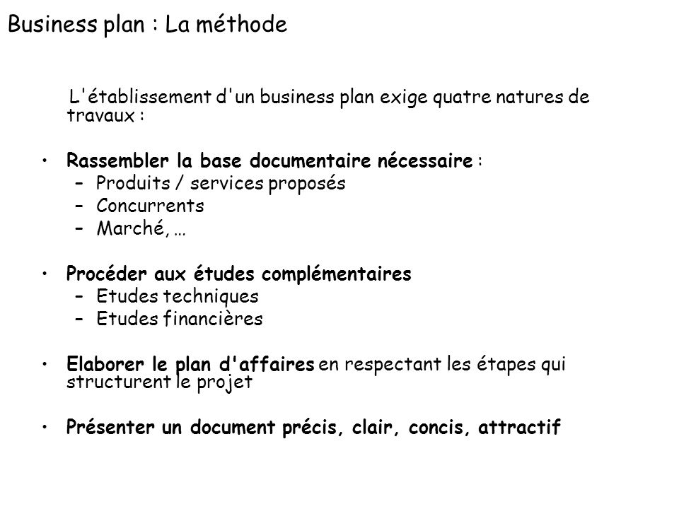 Business plan : La méthode