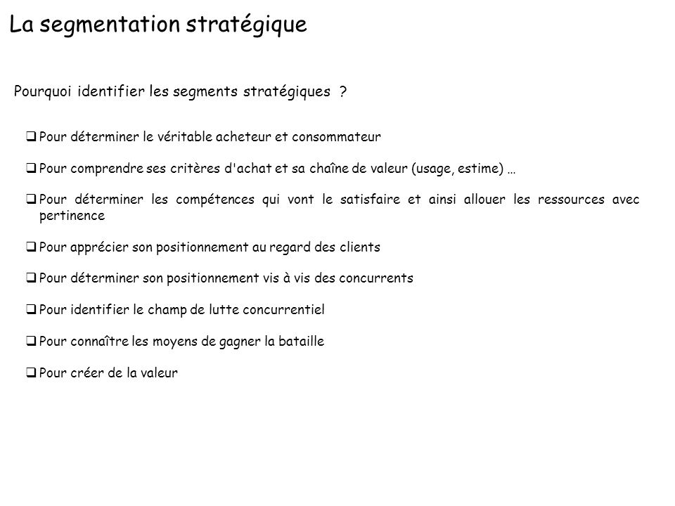 La segmentation stratégique