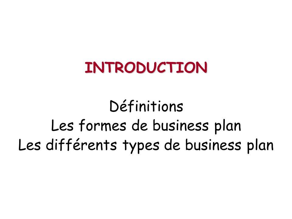 Les formes de business plan Les différents types de business plan