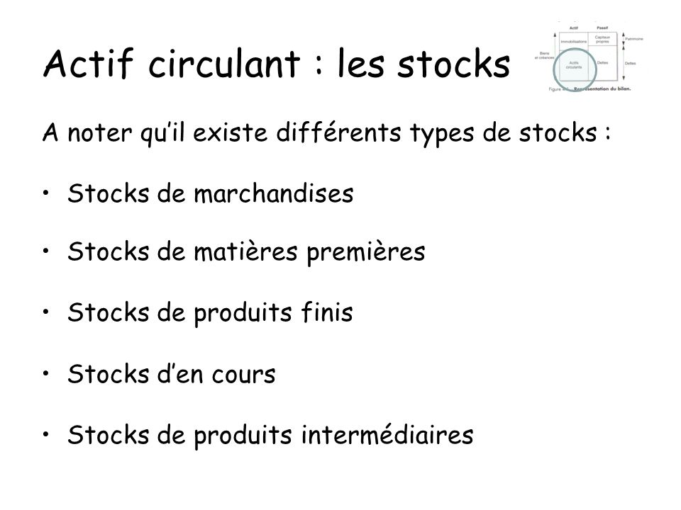 Actif circulant : les stocks