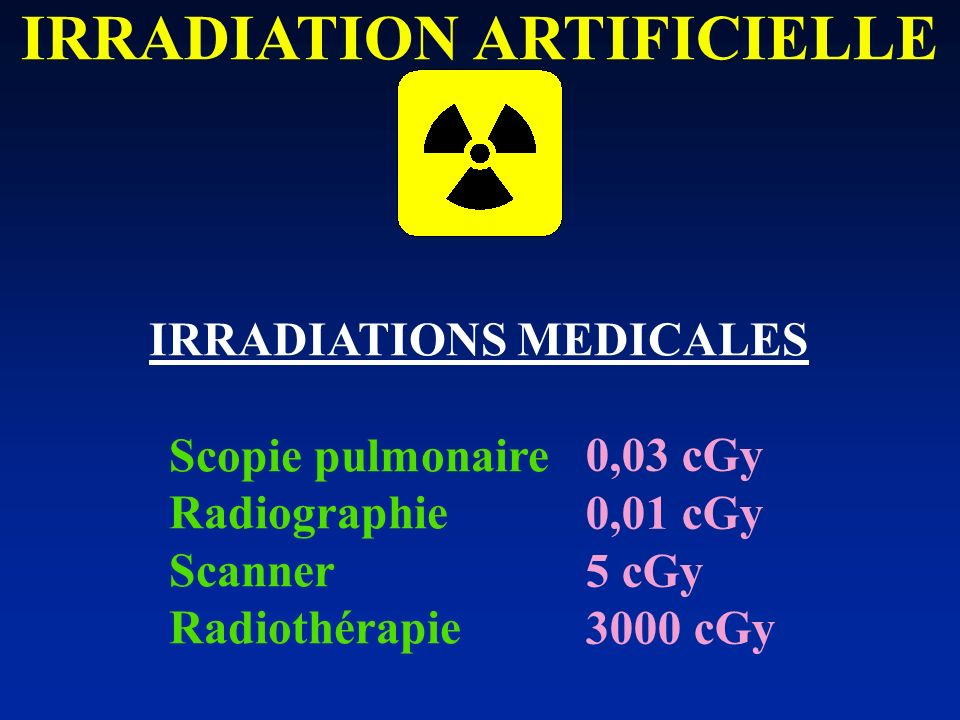 IRRADIATION ARTIFICIELLE