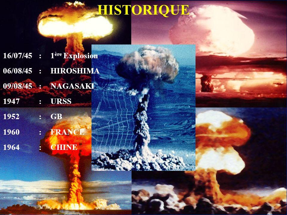 LES ARMES NUCLEAIRES HISTORIQUE 16/07/45 : 1ère Explosion