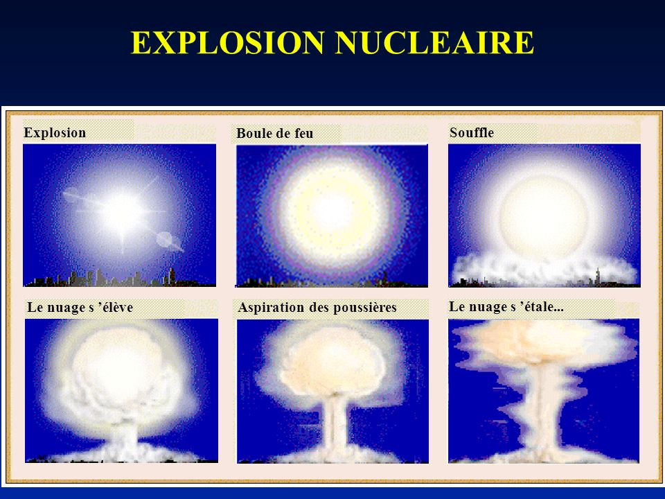 EXPLOSION NUCLEAIRE Explosion Boule de feu Souffle Le nuage s 'élève