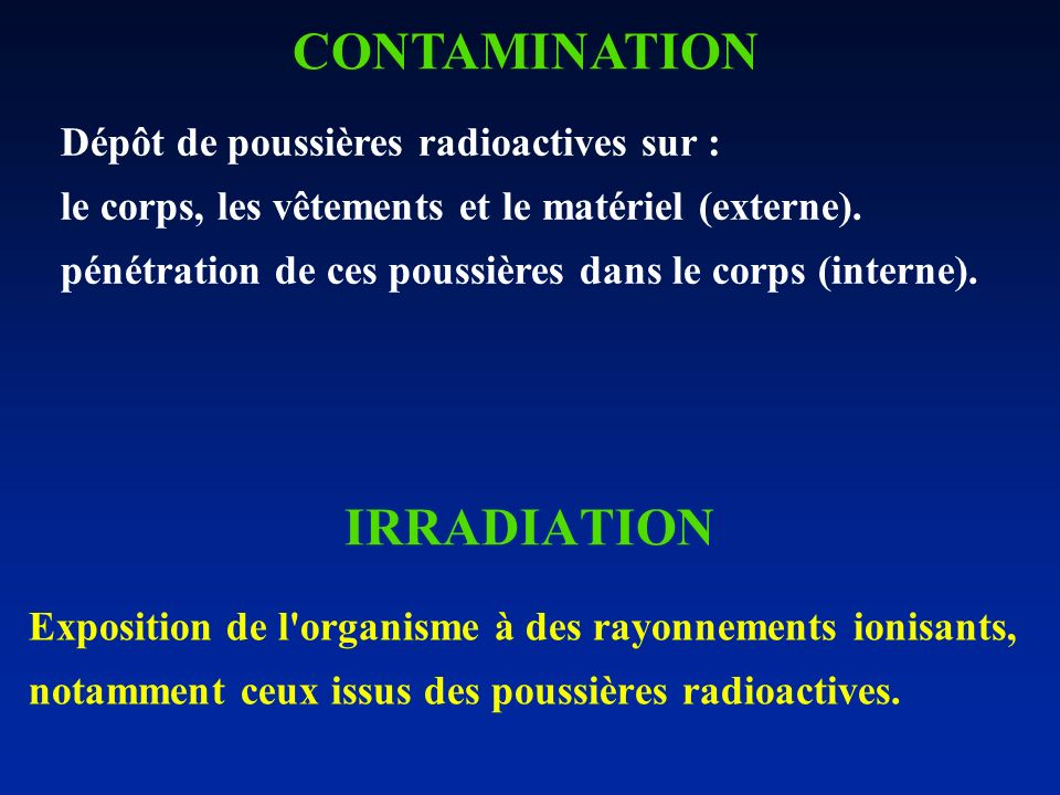 CONTAMINATION IRRADIATION