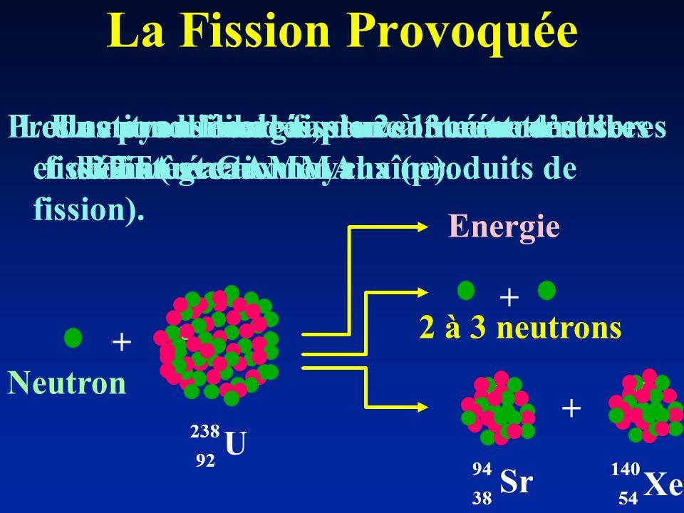 La Fission Provoquée Production d énergie, de 2 à 3 neutrons libres et de 2 nouveaux noyaux (produits de fission).