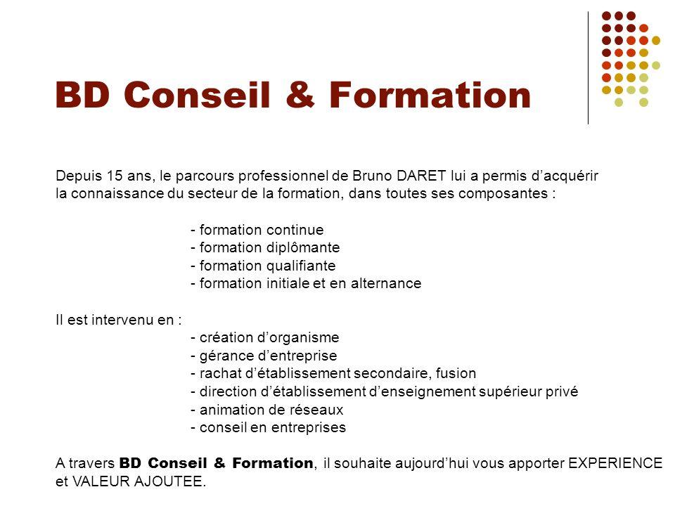 BD Conseil & FormationDepuis 15 ans, le parcours professionnel de Bruno DARET lui a permis d'acquérir.