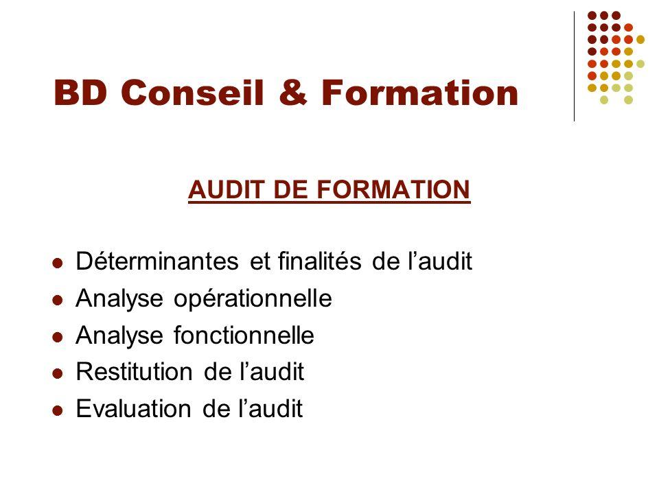 BD Conseil & Formation AUDIT DE FORMATION
