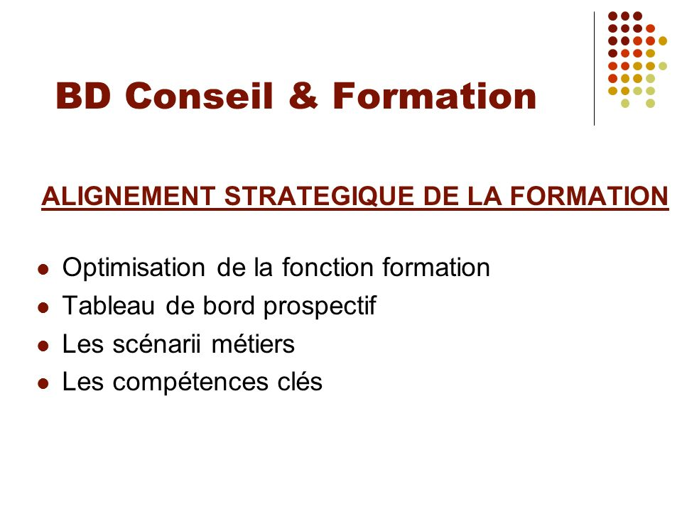 ALIGNEMENT STRATEGIQUE DE LA FORMATION