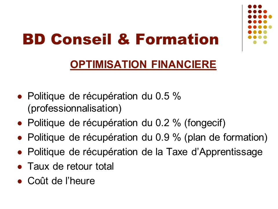 OPTIMISATION FINANCIERE