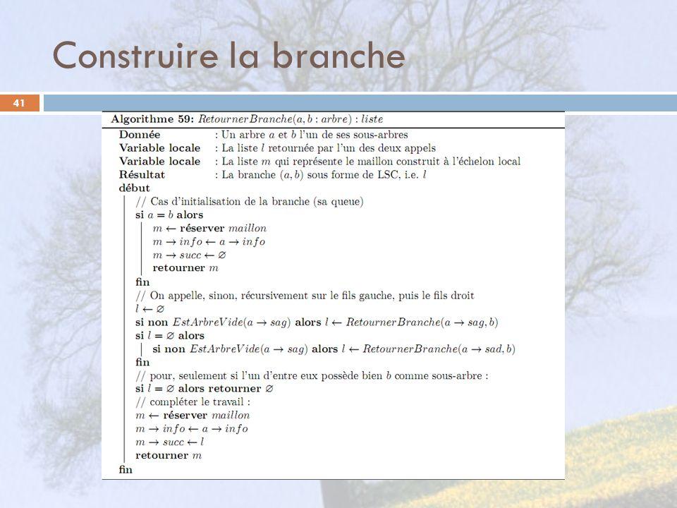 Construire la branche