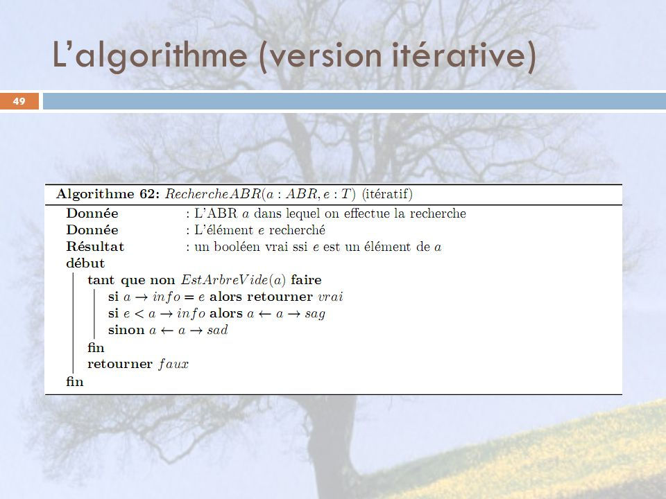 L'algorithme (version itérative)