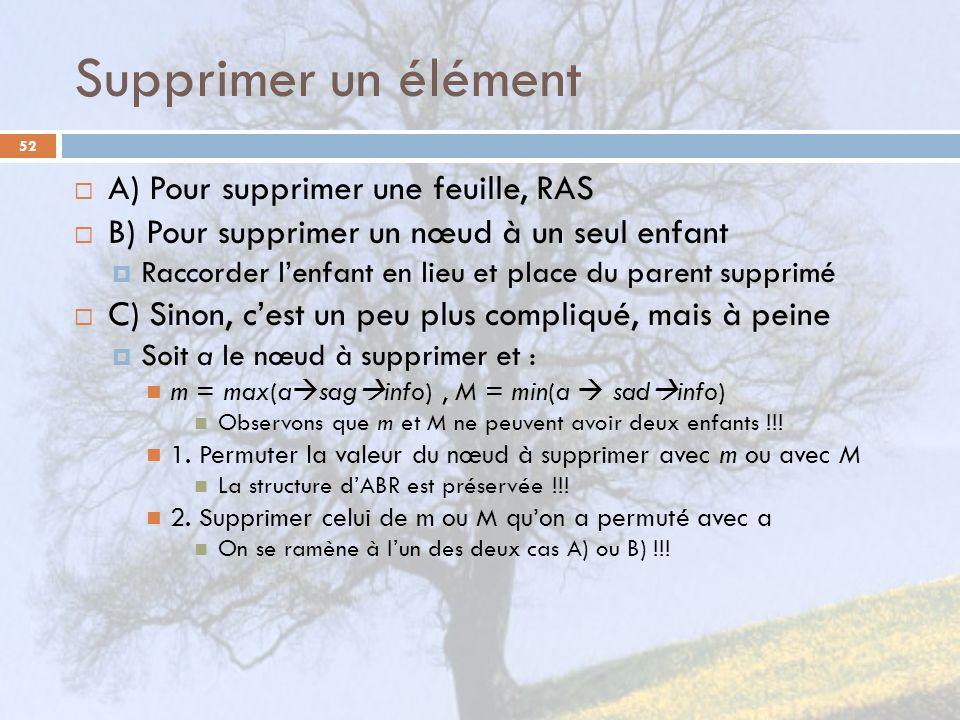 Supprimer un élément A) Pour supprimer une feuille, RAS