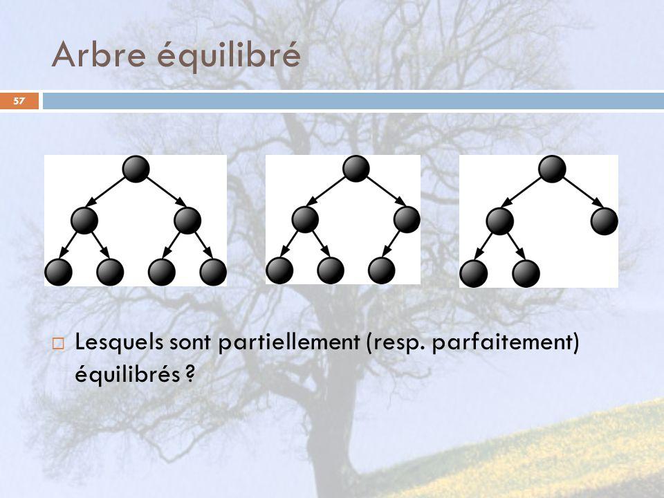 Arbre équilibré Lesquels sont partiellement (resp. parfaitement) équilibrés