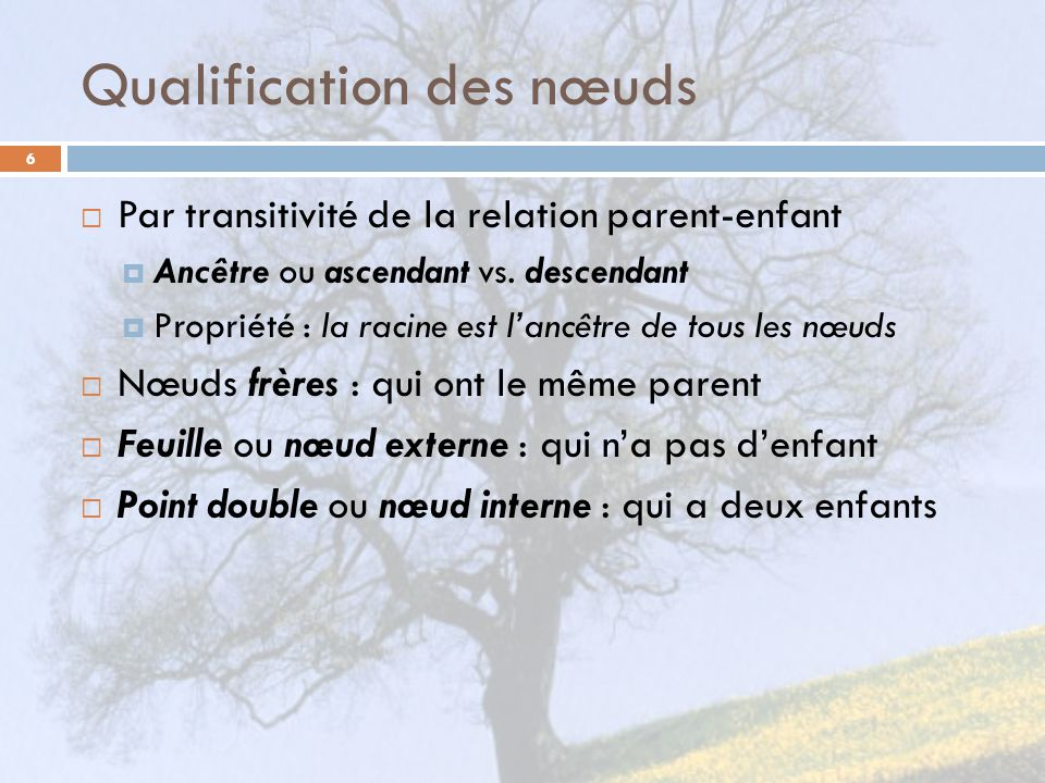 Qualification des nœuds