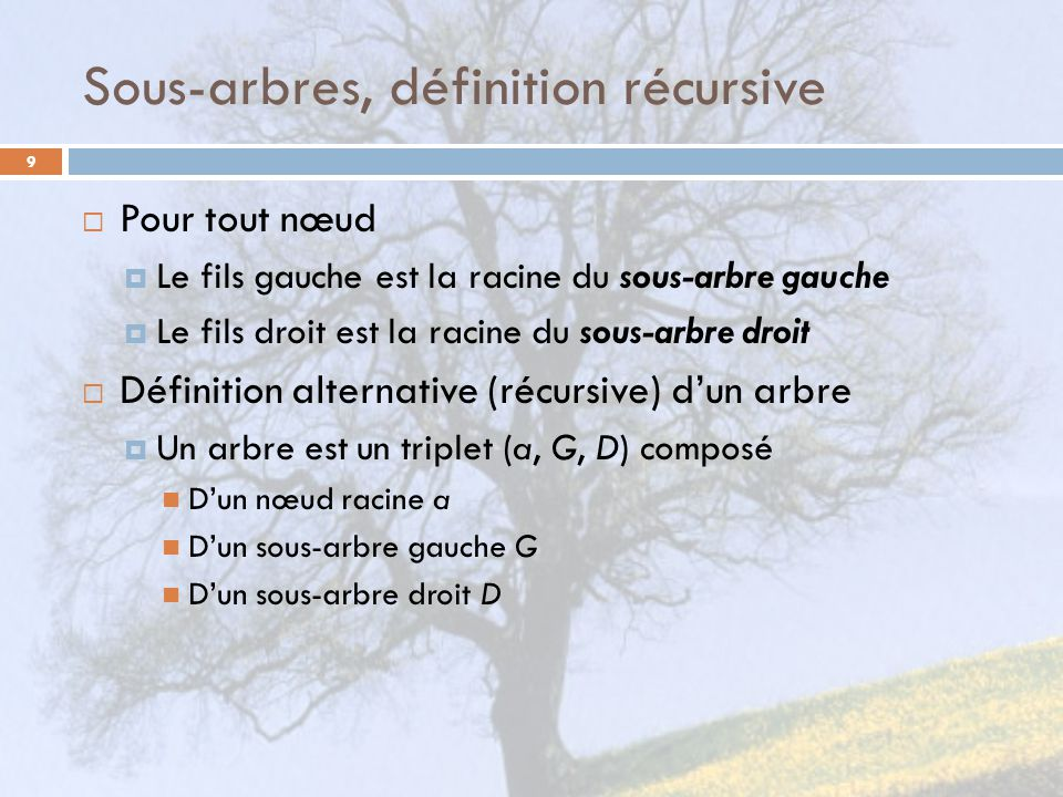 Sous-arbres, définition récursive