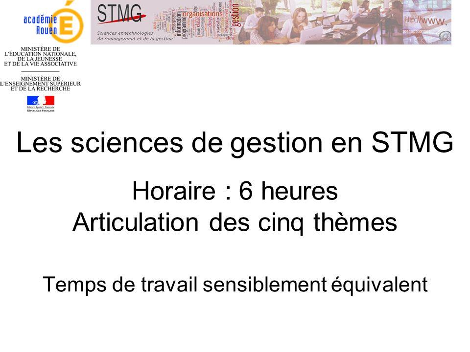 Les sciences de gestion en STMG Horaire : 6 heures Articulation des cinq thèmes Temps de travail sensiblement équivalent