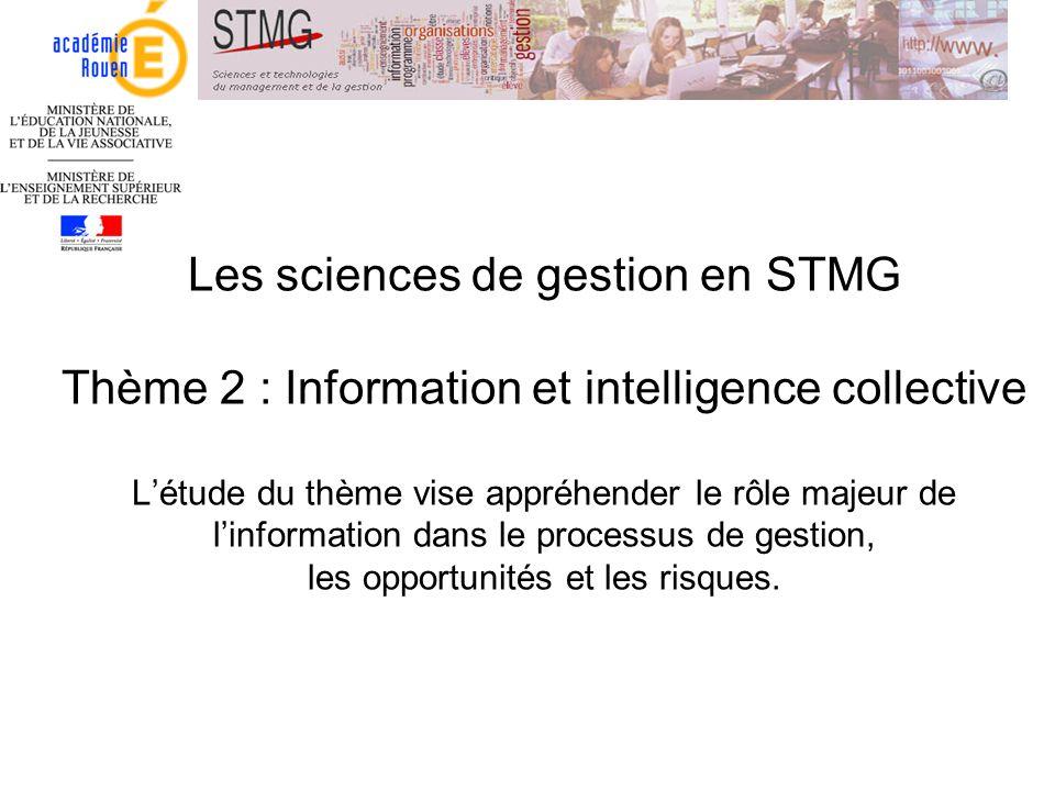 Les sciences de gestion en STMG Thème 2 : Information et intelligence collective L'étude du thème vise appréhender le rôle majeur de l'information dans le processus de gestion, les opportunités et les risques.