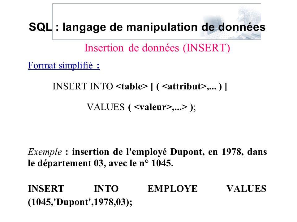 Insertion de données (INSERT)