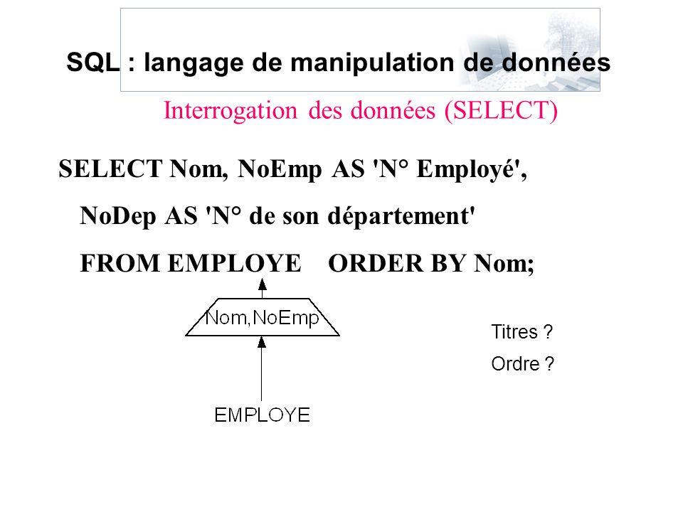 Interrogation des données (SELECT)