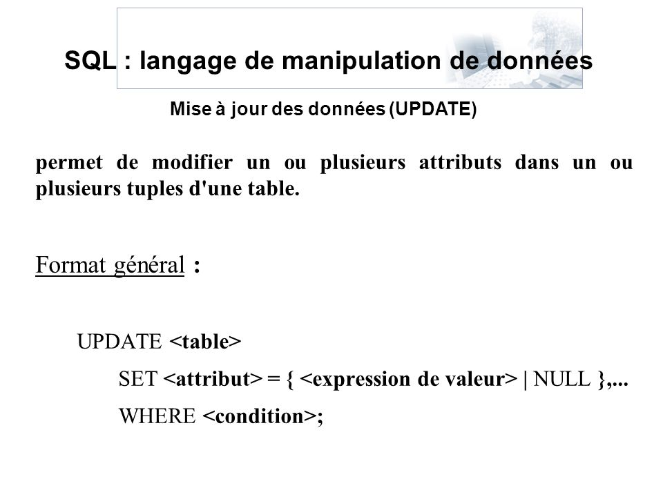 SQL : langage de manipulation de données