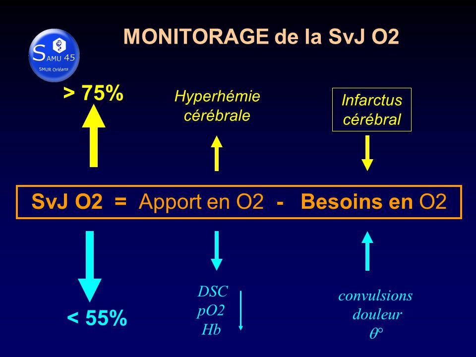 SvJ O2 = Apport en O2 - Besoins en O2