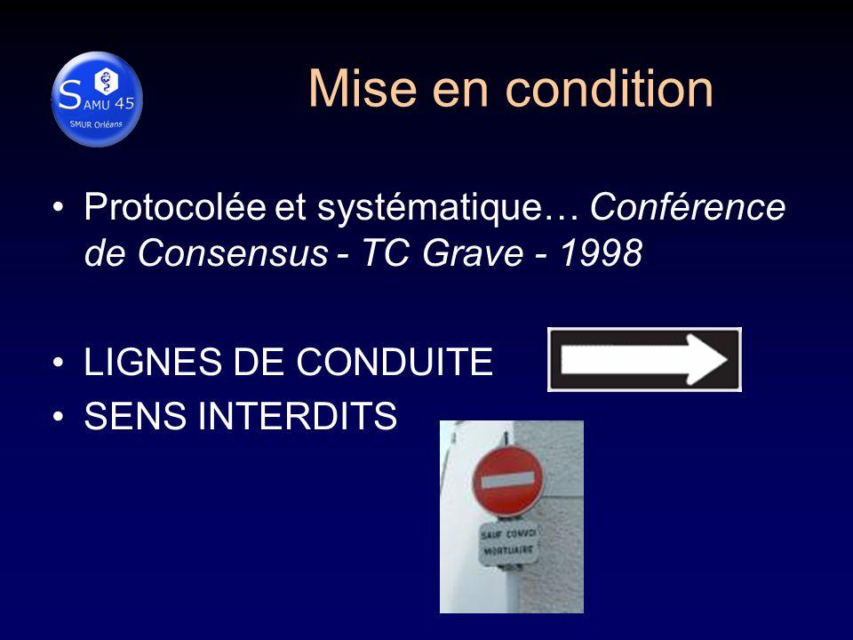 Mise en condition Protocolée et systématique… Conférence de Consensus - TC Grave - 1998. LIGNES DE CONDUITE.
