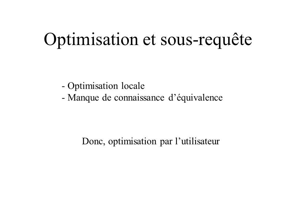 Optimisation et sous-requête