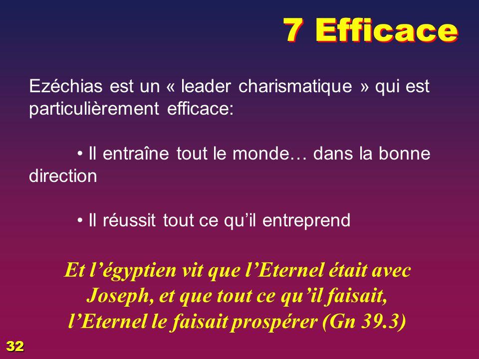 7 Efficace EZECHIAS: D - L HOMME. 02/04/2017. Ezéchias est un « leader charismatique » qui est particulièrement efficace: