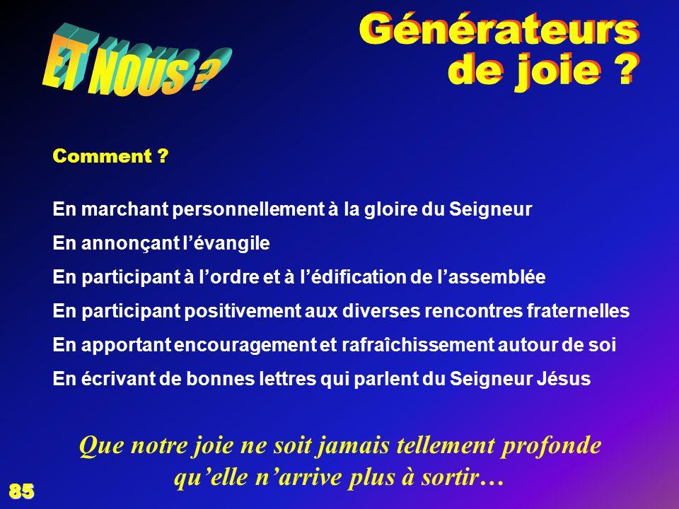 Générateurs de joie ET NOUS