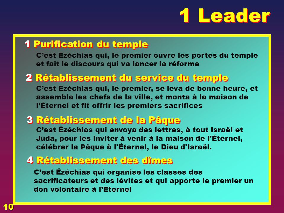 1 Leader 1 Purification du temple