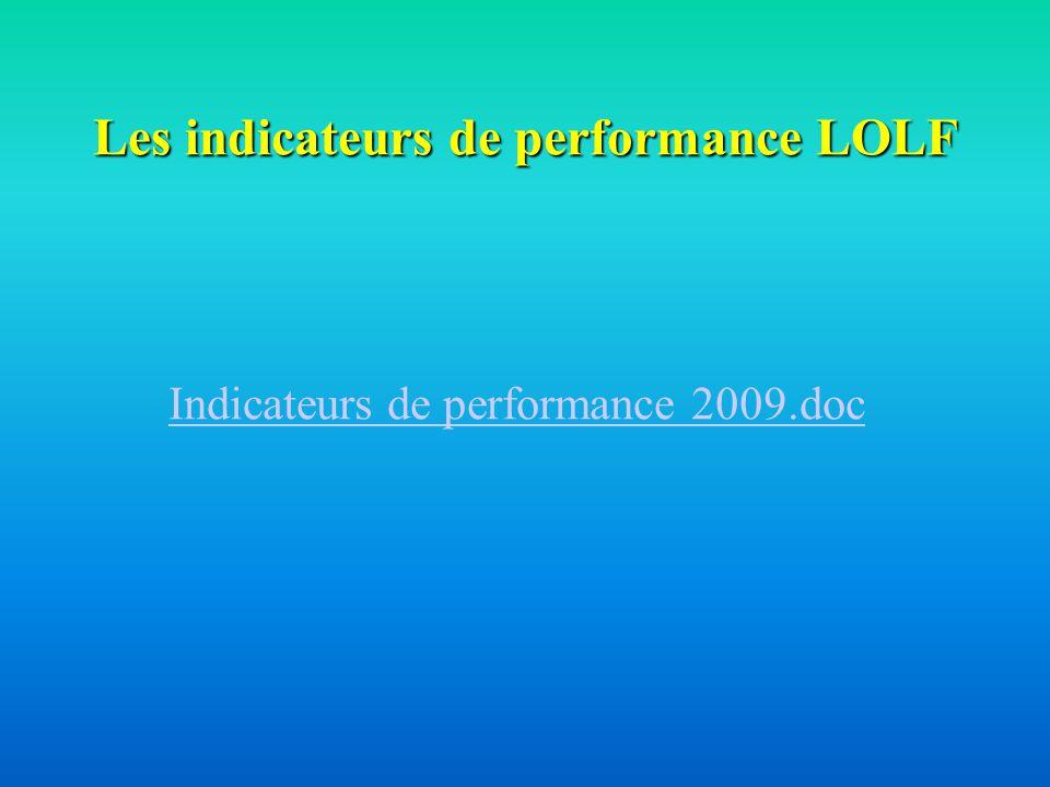 Les indicateurs de performance LOLF