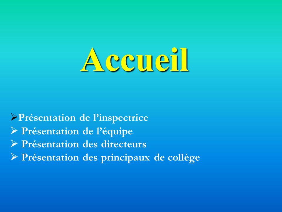 Accueil Présentation de l'inspectrice  Présentation de l'équipe  Présentation des directeurs  Présentation des principaux de collège.