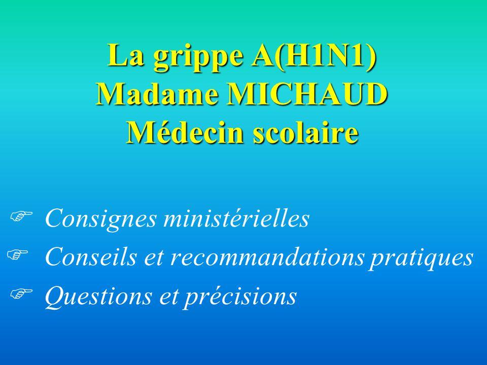 La grippe A(H1N1) Madame MICHAUD Médecin scolaire