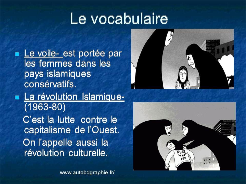 Le vocabulaire Le voile- est portée par les femmes dans les pays islamiques consérvatifs. La révolution Islamique- (1963-80)