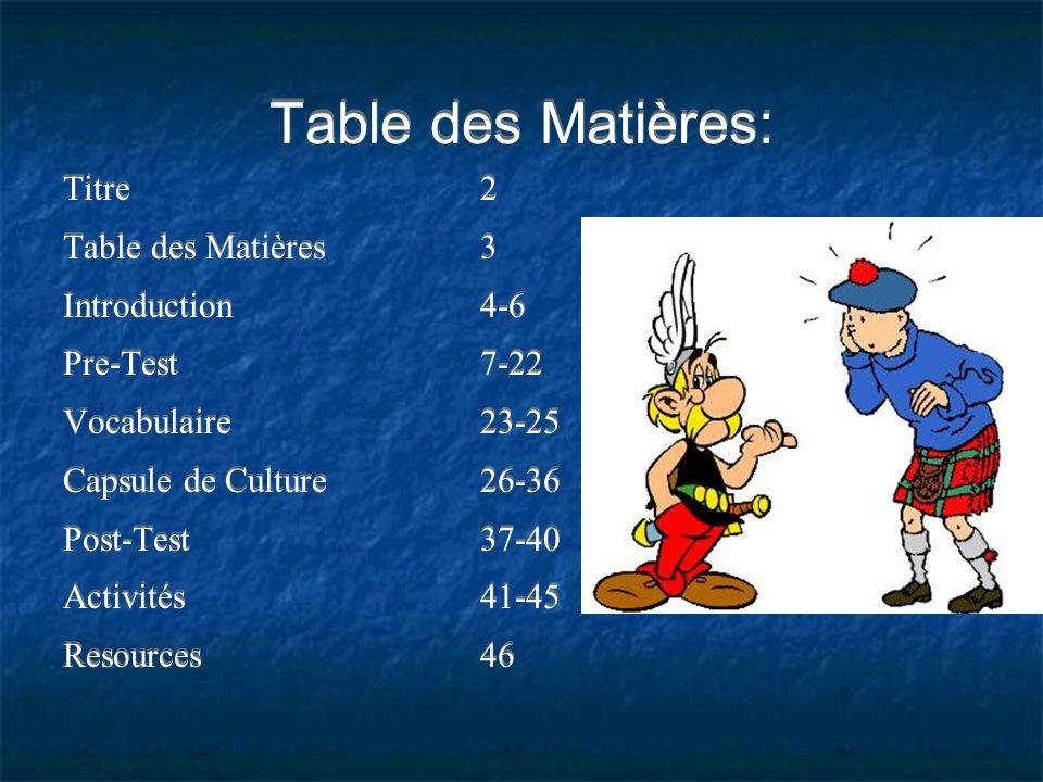 Table des Matières: Titre 2 Table des Matières 3 Introduction 4-6