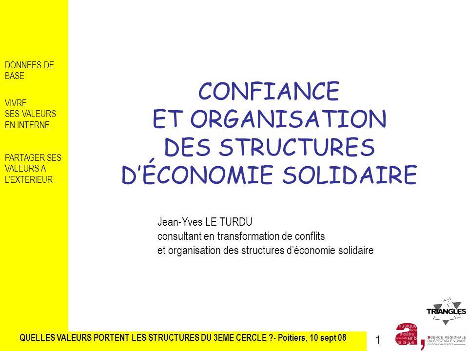 CONFIANCE ET ORGANISATION DES STRUCTURES D'ÉCONOMIE SOLIDAIRE