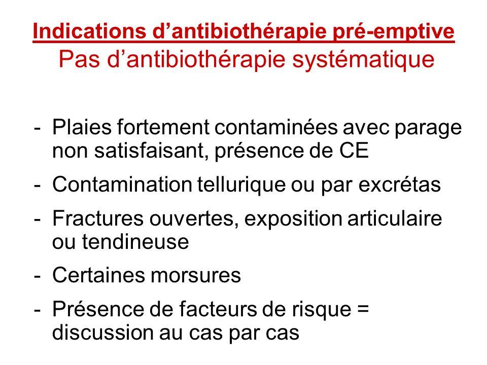 Indications d'antibiothérapie pré-emptive Pas d'antibiothérapie systématique