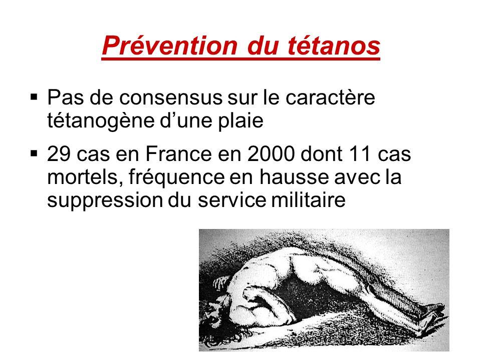 Prévention du tétanosPas de consensus sur le caractère tétanogène d'une plaie.