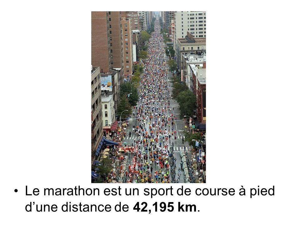 Le marathon est un sport de course à pied d'une distance de 42,195 km.