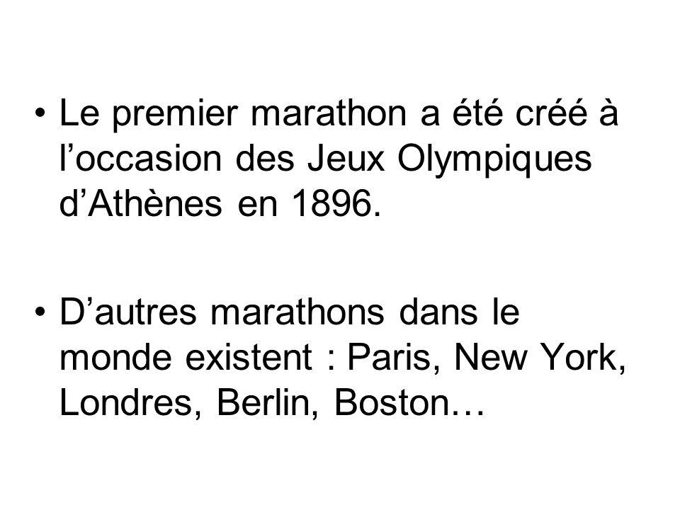 Le premier marathon a été créé à l'occasion des Jeux Olympiques d'Athènes en 1896.