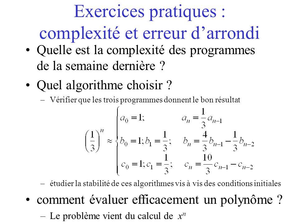 Exercices pratiques : complexité et erreur d'arrondi